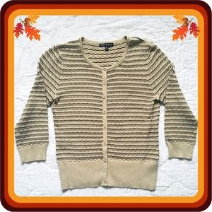 Cable & Gauge Beige w/ Black Button Up Sweater